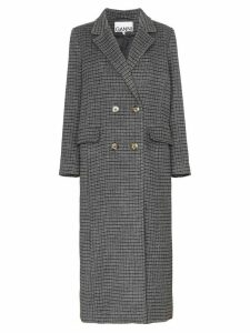 Ganni double-breasted checked coat - Grey