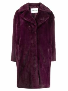 Stand faux-fur coat - Pink