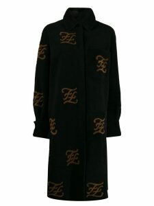 Fendi FF motif shearling coat - Black