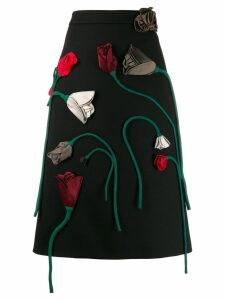 Prada rose appliqué skirt - Black