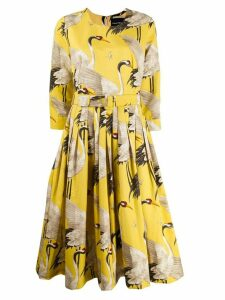 Samantha Sung bird print flared dress - Yellow