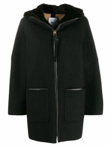 Agnona shearling zip overcoat - Black
