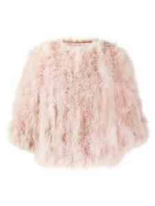 Yves Salomon feathered short jacket - Pink