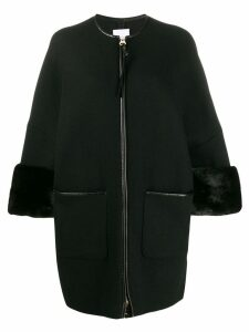 Agnona zipped cropped sleeve overcoat - Black