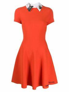 Valentino poetry embroidery pleated dress - Orange