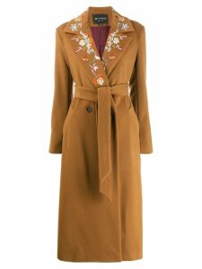 Etro floral embroidered collar coat - Brown