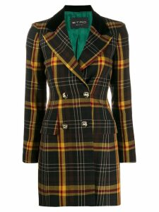 Etro tartan check double breasted coat - Black