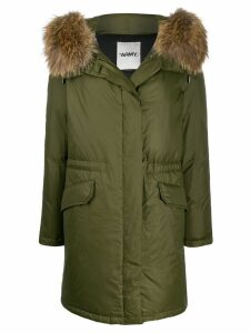 Yves Salomon faux fur trim parka coat - Green