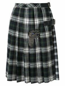 Dice Kayek pleated plaid print skirt - Green