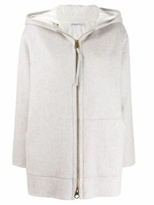 Agnona hooded paneled coat - Grey