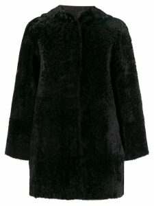 Drome reversible shearling hooded coat - Black