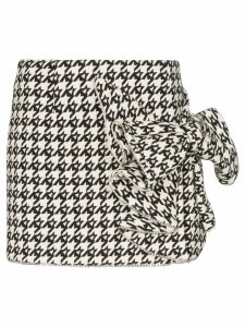 AREA crystal bow detail houndstooth skirt - Black