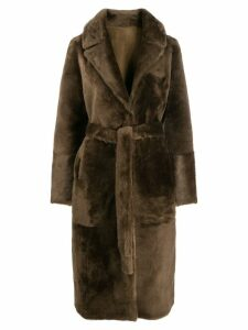 Yves Salomon belted fur coat - Brown