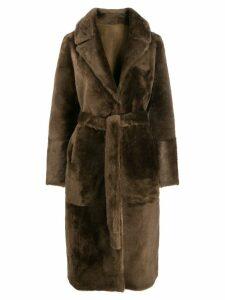 Yves Salomon belted fur coat - Brown