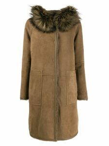 Yves Salomon hooded fur coat - Brown
