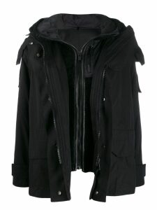 Yves Salomon Army layered hooded coat - Black