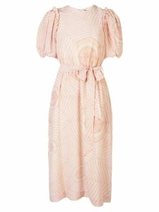 Simone Rocha tie waist bell sleeve dress - PINK