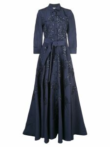Carolina Herrera floral-embellished silk gown - Blue
