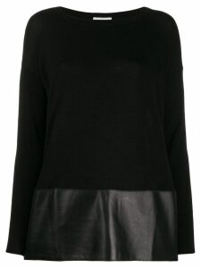 Snobby Sheep faux-leather hem jumper - Black