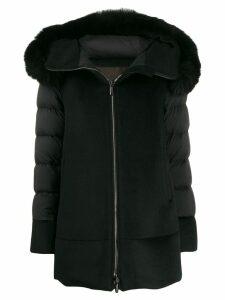 Moorer hooded zipped coat - Black