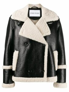 Stand shearling lined jacket - Black