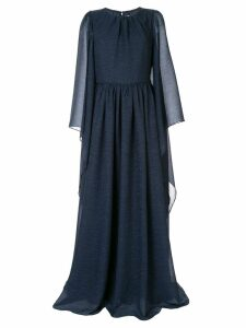 Ingie Paris draped long-sleeved dress - Blue
