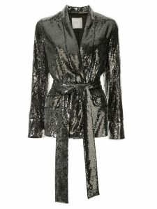 Ingie Paris sequin belted blazer - SILVER
