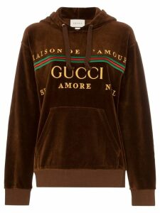 Gucci embroidered logo hoodie - Brown
