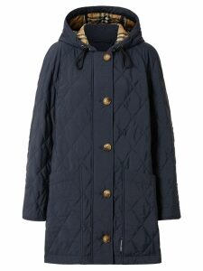 Burberry Diamond Quilted Thermoregulated Hooded Coat - Blue