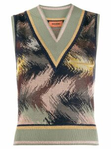 Missoni pattern mix knitted top - Green
