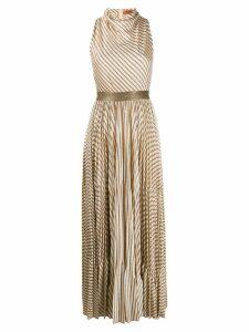 Missoni metallic-stripe pleated maxi-dress - Neutrals