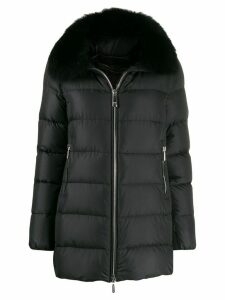Moorer fur collar coat - Black