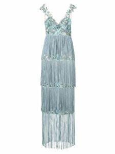 Marchesa Notte embroidered fringe dress - Blue