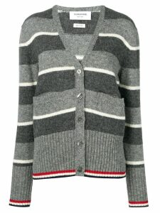 Thom Browne Wide Repp Stripe Relaxed Cardigan - Grey