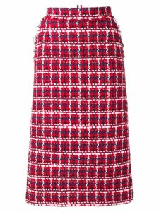 Thom Browne Gun Club Check Chiffon Pencil Skirt - Red