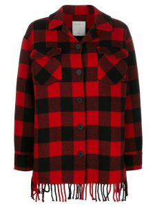 Sandro Paris check fringed coat - Red