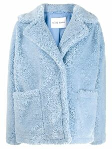 Stand oversized faux fur jacket - Blue