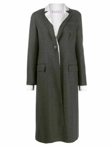 Marni contrast lapel coat - Grey