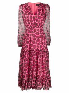 Saloni ruffled foliage print midi dress - Pink