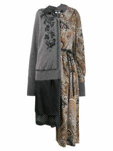 Junya Watanabe contrast patterned coat - Grey