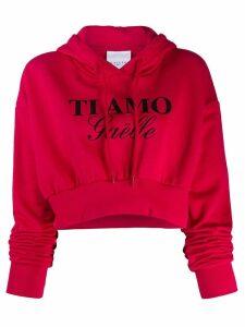 Gaelle Bonheur slogan drawstring hoodie - Red