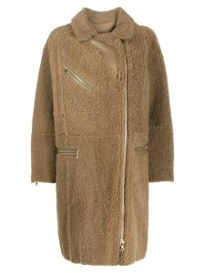 Yves Salomon Curly Merinillo shearling coat - Neutrals