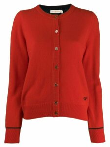 Tory Burch knitted logo cardigan - Red