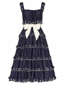 Innika Choo Iva scalloped midi dress - Blue
