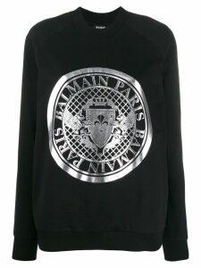 Balmain logo emblem sweatshirt - Black