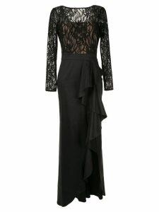 Tadashi Shoji lace top taffeta gown - Black