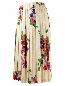Junya Watanabe pleated floral skirt - NEUTRALS