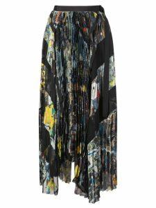Sacai belted pleated skirt - Multicolour
