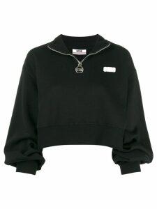Gcds logo patch cropped sweatshirt - Black
