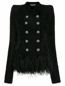 Balmain feather hem blazer - Black